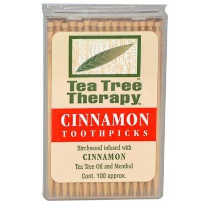 Cinnamon Tea Tree Toothpicks 100 count By Tea Tree Therapy - 12 Pack by Tea Tree Therapy