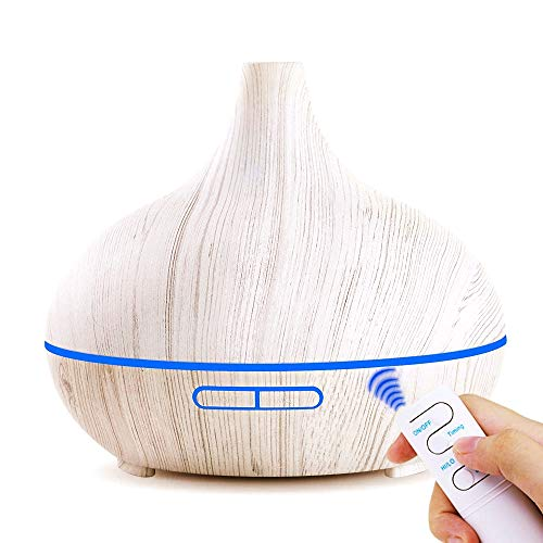 EJOAI Upgraded Ultrasonic Essential Oil Diffuser with Remote Control, Aromatherapy Cool Mist Aroma Air Humidifier, Waterless Auto Off, 3 Timers, 7 Colors Lights for Whole House Baby Home 500ml - White