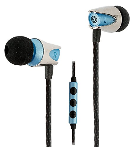 Earbuds / Earphones, In-Ear Headphones with Mic : Noise Isolating Power Bass Driver, In-Line Microphone with Volume and Phone Controls, Best Quality IEM, Ultra Clear Sound : the Audiophile Quicksilver