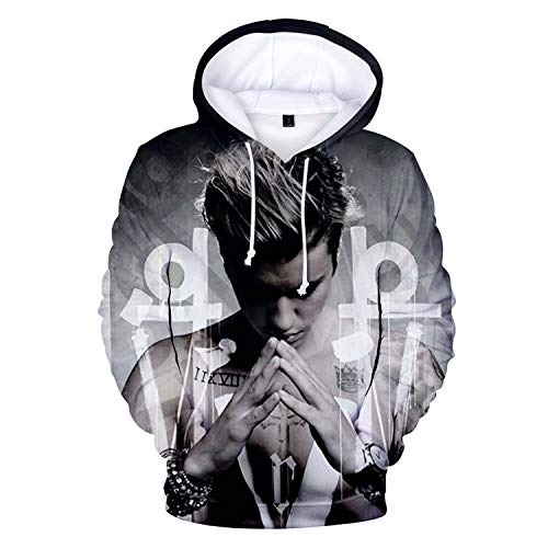 Justin Bieber Costume (3D Print Couple Wear,Hooded Sweatshirts Cartoon Creative Pullover Hoodie Unisex Street Wear Justin)