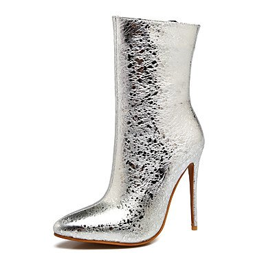 de microfibra becerro amp;M apuntó las moda otoño de silver de botines botas talón zapatos Heart botas estilete de mediados botas de invierno mujeres x1HCwng