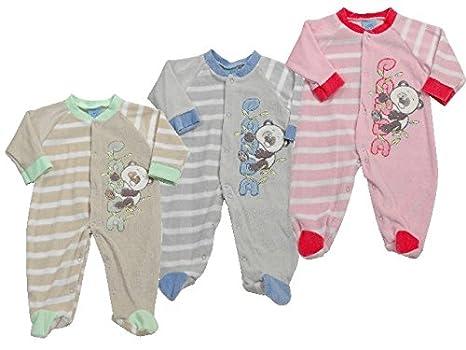 King Bear pijama terciopelo rayas abierto parte delantera Panda. De blandos colores, joliment varios