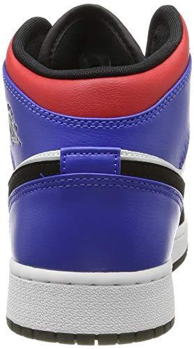 Nike Boy's Air Jordan 1 Mid (GS) Shoe White/Black-Hyper Royal/University Red, Size 3.5 M US Big Kid by Nike (Image #2)