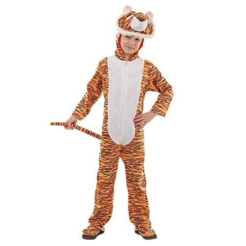 Kids Tiger Onesie Costume Childrens Animal Hooded All-in-One Outfit - X-Large