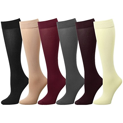 Falari 6 or 12-Pack Women Trouser Socks with Comfort Band Stretchy Spandex Opaque Knee High (6-Pack Assorted #2)