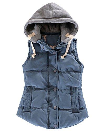 Mujer Gilet Espesar Cálido Invierno Abrigo Sin Mangas Acolchado Chaquetas Con Capucha Azul