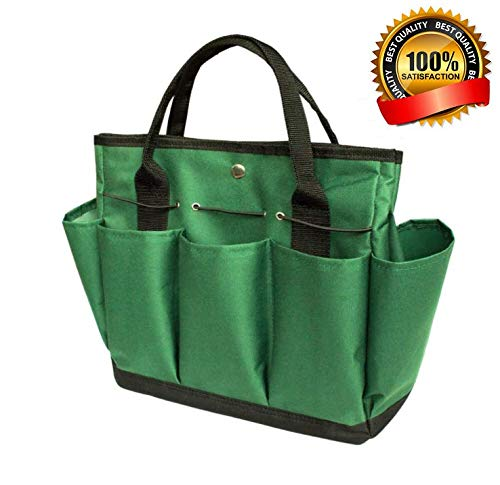 Bag Gardening (Garden Tote/ Gardening Tool Storage Bag/Garden Tool Bag with with 8 Pockets Oxford for Indoor Outdoor Garden Plant Tool Set Gardening Tools Organizer Tote Lawn Yard Bag Carrier)