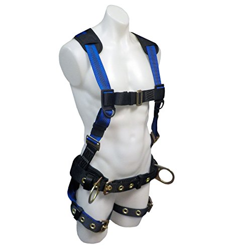 (SafeWaze V-LINE Construction Safety Harness with Waist Belt, No-Tangle D-Ring with Pad, Fall Protection Equipment with Fall Arrest Indicator, OSHA/ANSI Compliant (Small))
