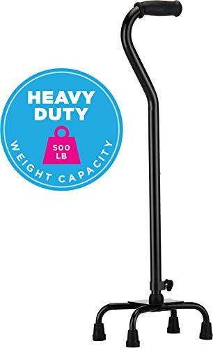 NOVA Heavy Duty Quad Cane, 500 lb. Weight Capacity Four Legged Walking Cane, Height (for Users 4'11