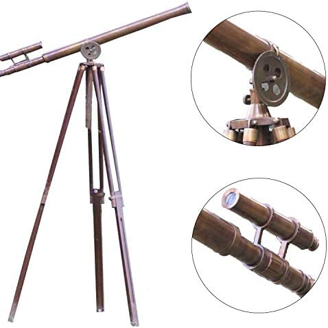 """collectiblesBuy Antique Telescope Vintage Brass Master Harbor Floor Standing Tripod Stand 39\"""""""