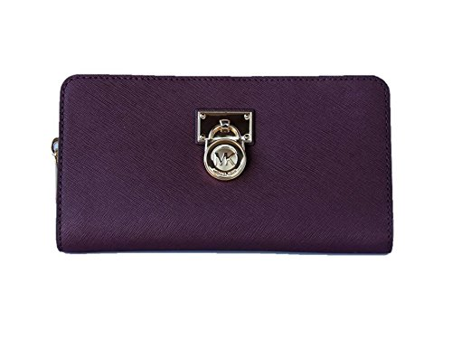 Michael Kors Hamilton Traveler Saffiano Leather Large Zip Around Wallet - Plum by Michael Kors