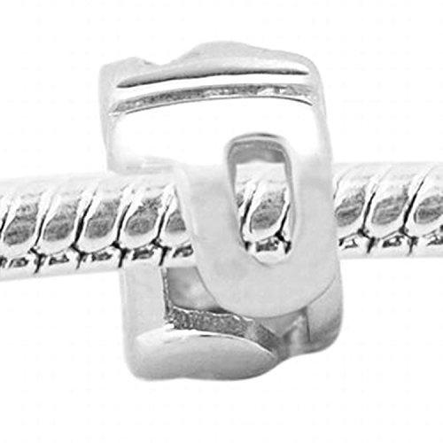De Buman Sterling Silver Letter P Charm Bead-fits Charm Bracelets