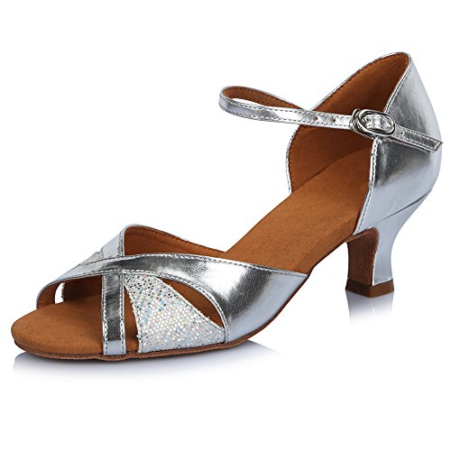 Silver 1 Shoes Tango Latin Roymall Performance Model Women's Shoes Dance AF424 Salsa Ballroom Leather IIxOZ7qwC