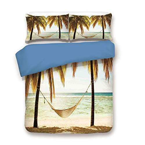 - Duvet Cover Set Queen Size, Decorative 3 Piece Bedding Set with 2 Pillow Shams, Seascape Hammock Palm Trees on Shore Tropical Beach Sunset