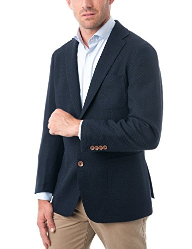 Fit Wool Blend - Chama Men's Two Buttons Navy Blue & Black &Light Grey Wool Blend Classic Fit Casual Sports Coat Blazer Jacket with Notch Lapel (Navy&Black, 42S)