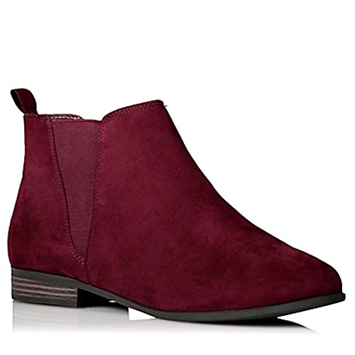 Womens Ladies Faux Leather Suede Chelsea Ankle Boots Black Brown with Pull On Elasticated Tab Low Block Flat Heel & Rounded Toe School Work Size 3 4 5 6 6.5 7 8 9 Burgundy Faux Suede