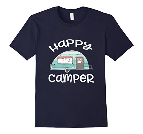 Men's Happy Camper Retro Trailer RV Caravan Camping T-Shirt Small Navy