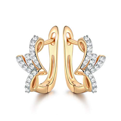(Onzonjewelryshop Khongkwan Elegant Lady Girls White Cubic Zirconia CZ Two Gold Tone Flower Huggie Earrings)