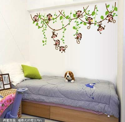 Jewh Cute Mini Monkeys Vinyl Wall Stickers - Decals Children Animals Plants Wallpaper - Mural Girls