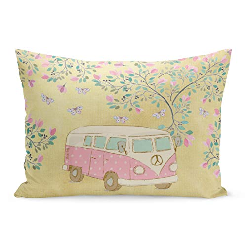 Aikul Throw Pillow Covers Watercolor Cute Hippy Van Butterflies and Blossom Gold Pink Retro Pillow Case Cushion Cover Lumbar Pillowcase Decoration for Couch Sofa Bed Car,20 x 26 inchs (Van Hippy)