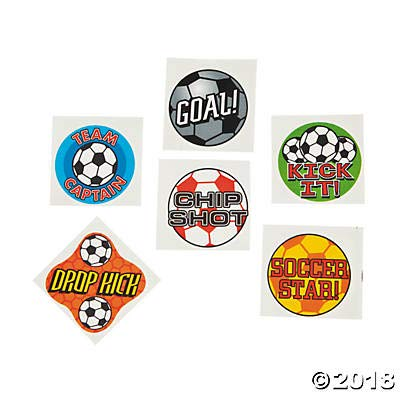 72 SOCCER BALL Temporary TATTOOS/Party FAVORS/GOAL/DROP Kick/CHIP Shot/TEAM Captain/STAR/Sports TEAM Parties]()