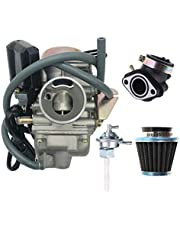 Ruijie PD24J 24mm 152QMJ 157QMI GY6 150CC Carburetor for GY6 150CC 4 Stroke Scooter Moped Taotao Baja Roketa Sunl JCT ATM50 Engine carb with Intake Manifold Air Filter Fuel Valve Switch