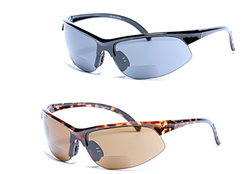 2 Pair of Polarized Bifocal Sport Wrap Sunglasses - Outdoor Reading Sunglasses (Black/Tortoise, 2.5)