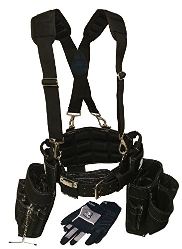 Gatorback Electricians Combo Deluxe Package (Tool Belt, Suspenders, Gloves, Drill Holster) Ventilated Back Support Belt w/Suspenders and Extras. For Electricians, Carpenters, Framer (Medium 31