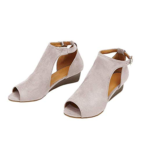 Hestenve Womens Peep Toe Cut Out Low Heel Booties Ankle Strap Buckle Wedge Shoes Beige