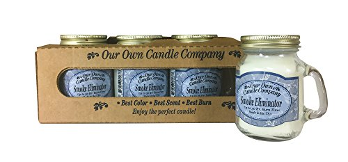 Our Own Candle Company Smoke Eliminator Scented Mini Mason Jar Candle, 3.5 Ounce (4 Pack) ()