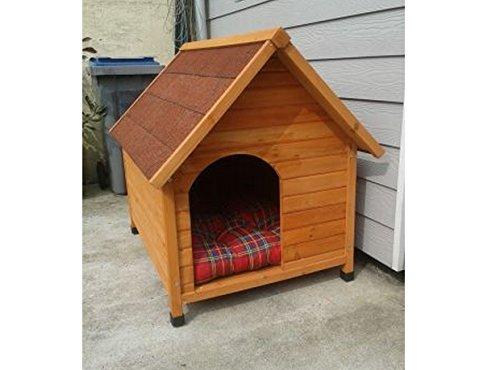 Atractivo Madera W/entrada lateral & Sealed de madera de techo de recubrimiento especial de caseta de perro con una amplia saliente Que Ofrece Una ...