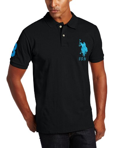 U.S. Polo Assn. Men's Solid Polo With Big Pony, Black/Teal Blue, X-Large