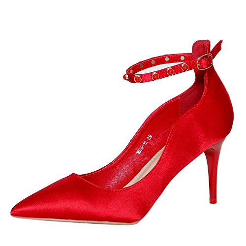 Rock on Styles Women Ladies Party Satin Ankle Straps Mid High Heel Court Shoes Pumps - 2615 Red NOmqAUNO
