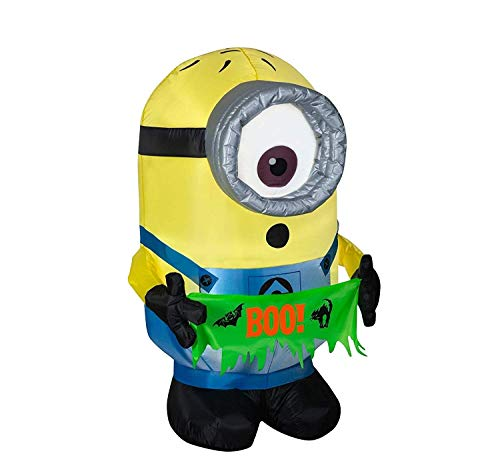 Gemmy Halloween Inflatable Carl Holding a Boo Banner 4FT Indoor/Outdoor Holiday Decoration]()