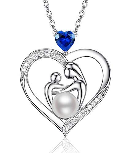 - September Birthstone LC Blue Sapphire Necklace Jewelry Gifts for Mom Sterling Silver White Pearl Love Heart Pendant Anniversary Birthday Gifts for Women Wife Her Mothers and Child Necklace 20