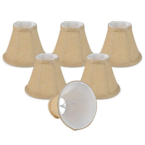 Wellmet Rustic Style Linen Soft Bell Shade. Mini Chandelier Lamp Shades Brown Set of 6, Vintage Cilp on Shades for E12 Candle Bulbs, Wall Lamp, 3x6x5 Inches