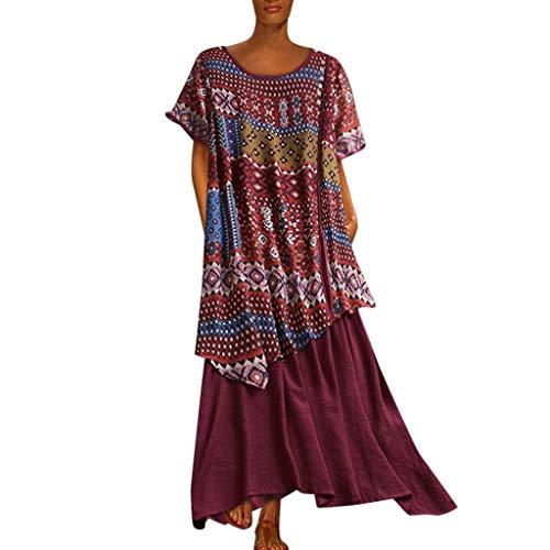 Women Vintage Plus Size Short Sleeve Maxi Dress Boho Printed Patchwork Long Dress Wine