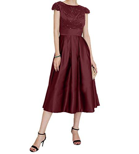 Jugendweihe Kurzarm Burgundy Brautmutterkleider Charmant mit Kurzes Festlichkleider Wadenlang Satin Abendkleider Damen Kleider nBYq7