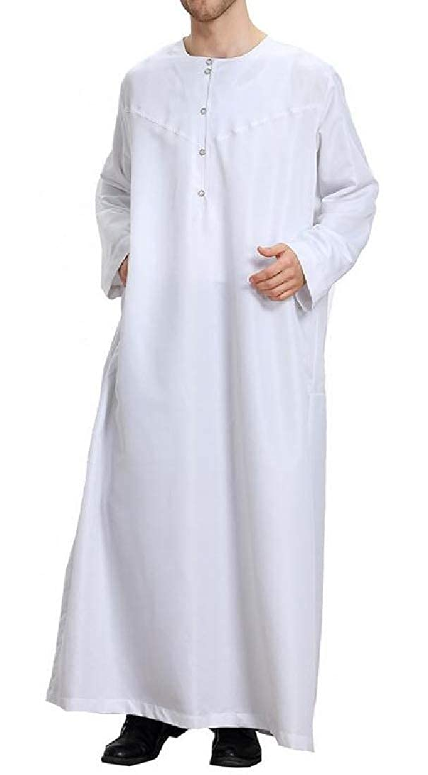Sweatwater Men Long Sleeve Plus Size Middle East Abaya Muslim Gown Pure Color Shirts