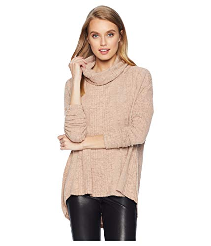 (Miss Me Women's Oversized Cowl Neck Tunic Dusty Pink Large)
