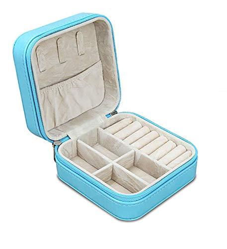LiLan Caja de joyería de Viaje de Piel sintética (Azul)
