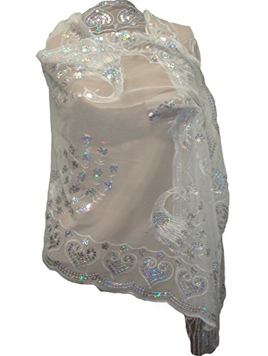 Beaded Knit Shawl (Sequined Embroidered Scarf / Shawl Wrap (white) 740110-O)