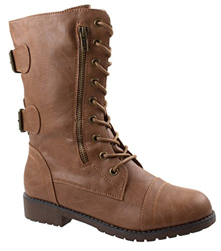 Forever Link Women's Maura-67 Tan PU Military Combat Mid Calf Boots with Money Wallet Pockets 7.5 D(M) US (Combat Boots For Teens)