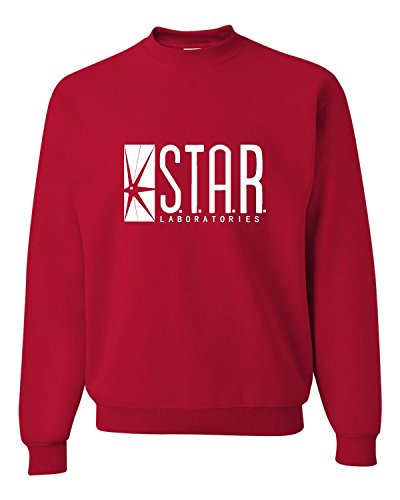 Go All Out Small Red Adult Star Labs Sweatshirt Crewneck ()