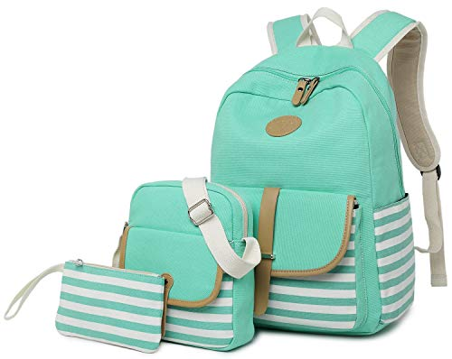 FLYMEI Lightweight Canvas Backpack Teens Backpack Boys and Girls School Bag Bookbags Set 3 in 1 Travel Daypack 14Inch Laptop Backpack,Green