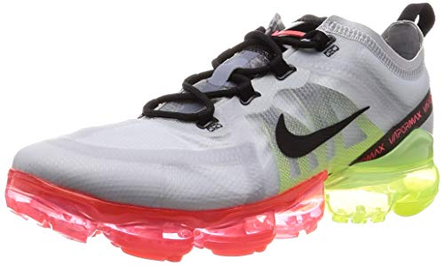 Nike Men's Air Vapormax 2019 Pure Platinum/Black/Volt Nylon Running Shoes 7.5 M US