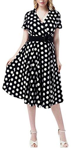 MILEEO Damen Vintage Kleid Knielang ALinie mit Polka Punkte Print ...