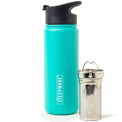 The Tea Spot, Double-Walled Mountain Tea Tumbler, Insulated Stainless Steel Tumbler with removable tea infuser for hot and cold brewing, Water infuser (Turquoise Lake, 16 oz)
