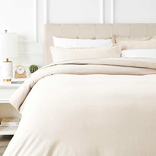 AmazonBasics Everyday Flannel Duvet Cover and 2 Pillow Sham Set - Full or Queen, - Flannel Beige