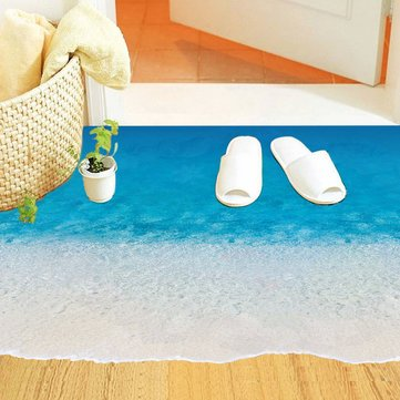 3d sea beach floor stickers diy removable sandbeach wall decal home